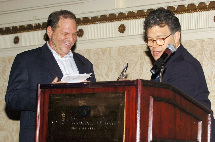 Harvey Weinstein and Al Franken during 2005 New York Film Critics Circle Awards Dinner - Reception at Roosevelt Hotel in New York City, New York, United States. (Photo by Dimitrios Kambouris/WireImage)